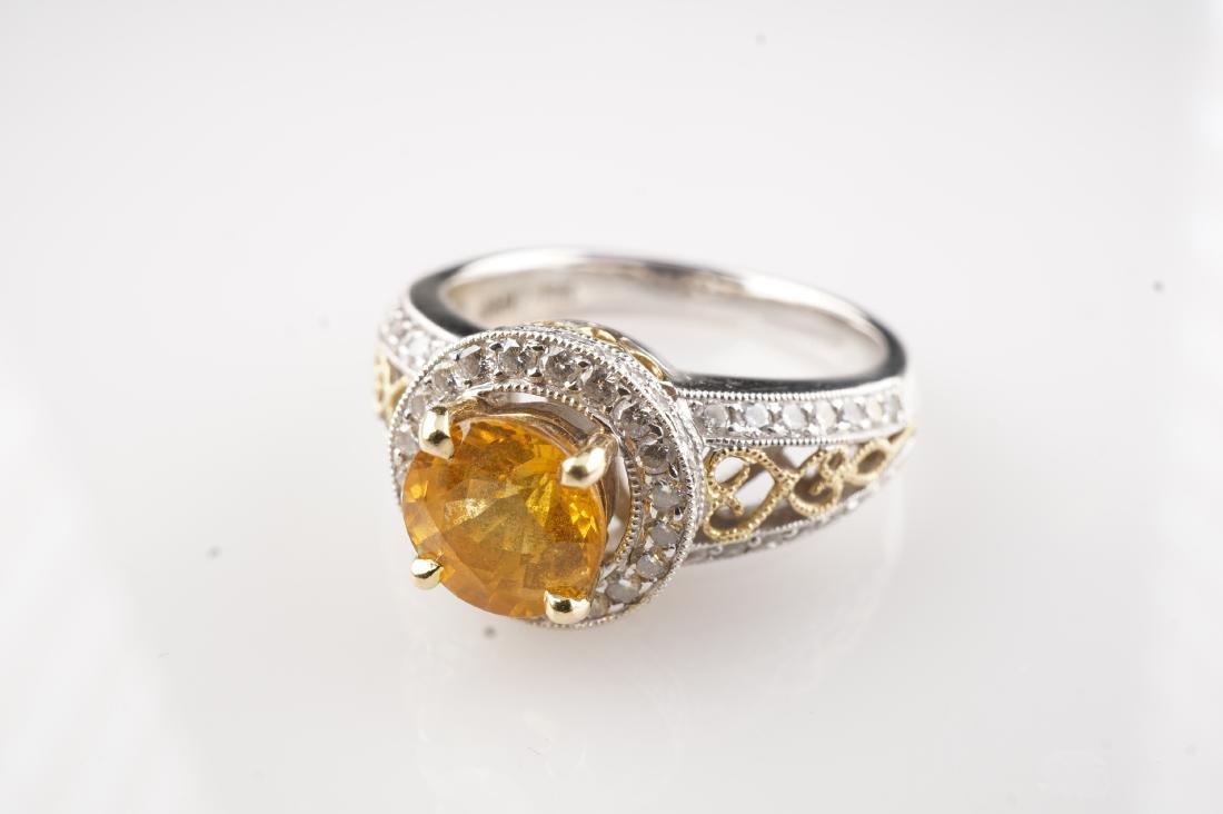 18k WG/YG Yellow Sapphire & Diamond Ring sz 6 - 2