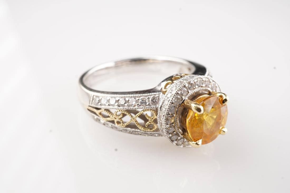 18k WG/YG Yellow Sapphire & Diamond Ring sz 6 - 3