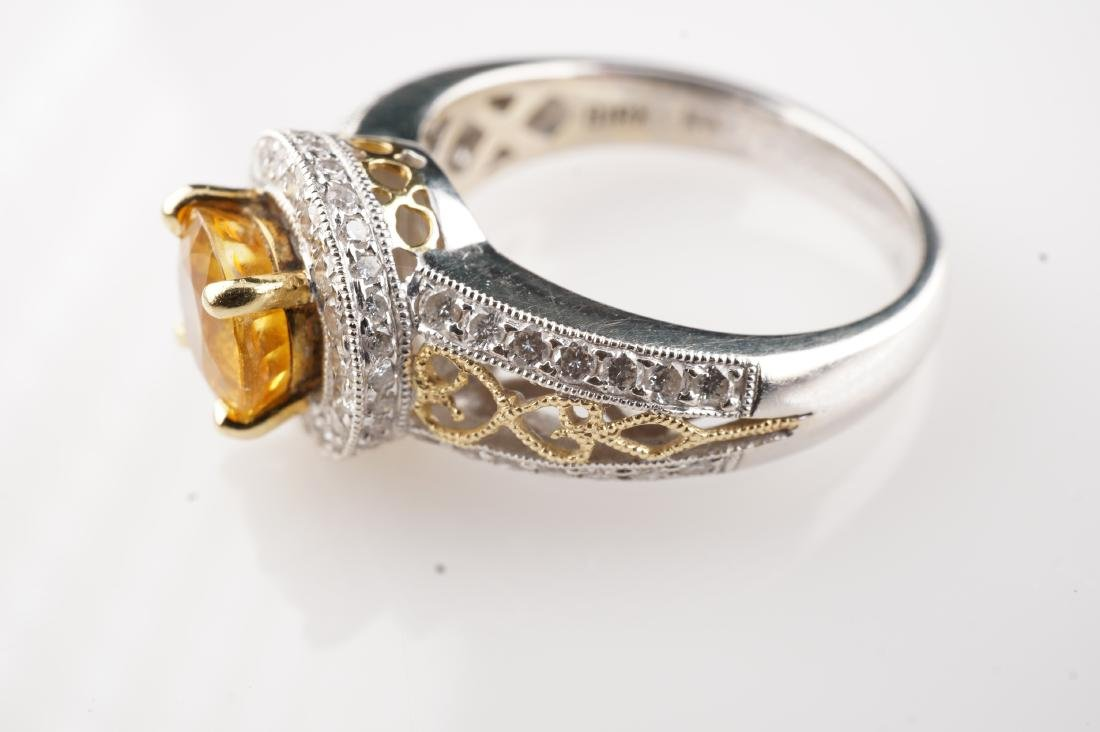 18k WG/YG Yellow Sapphire & Diamond Ring sz 6 - 4