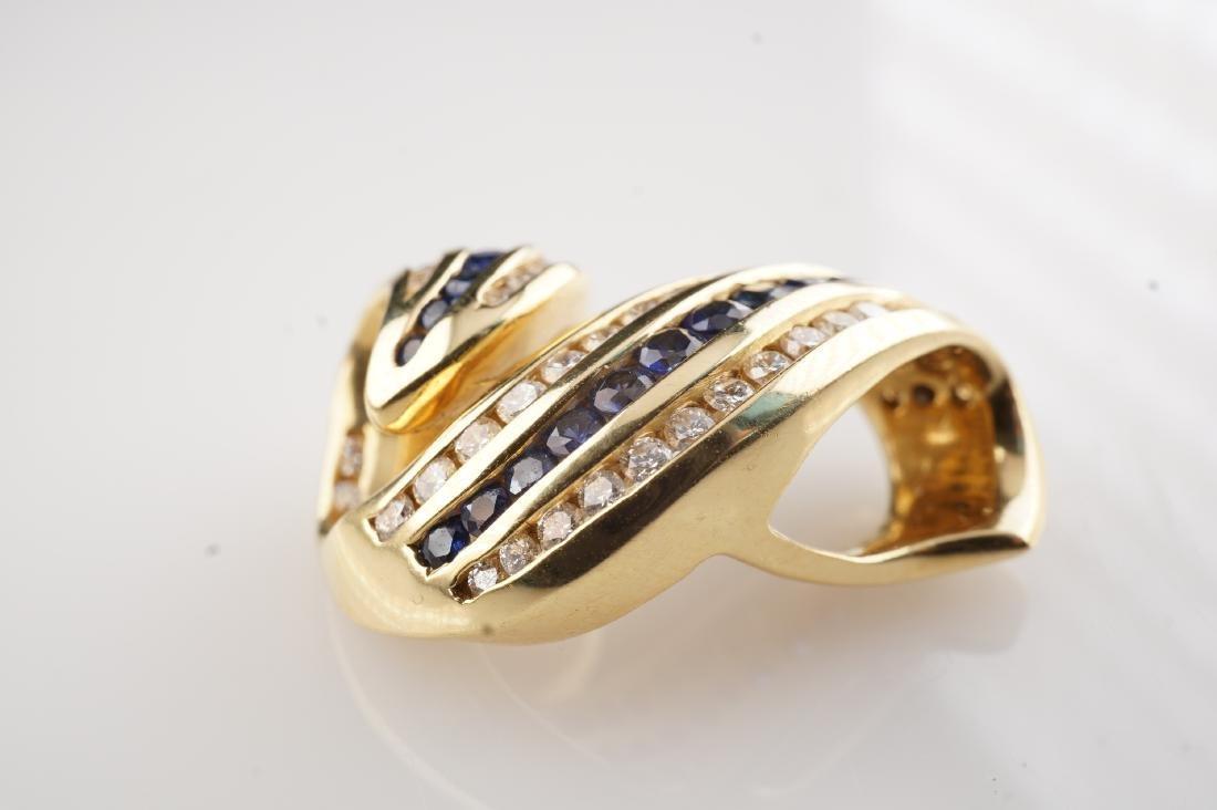 18k YG Charles Krypell Sapphire & Diamond Slide Pendant - 2