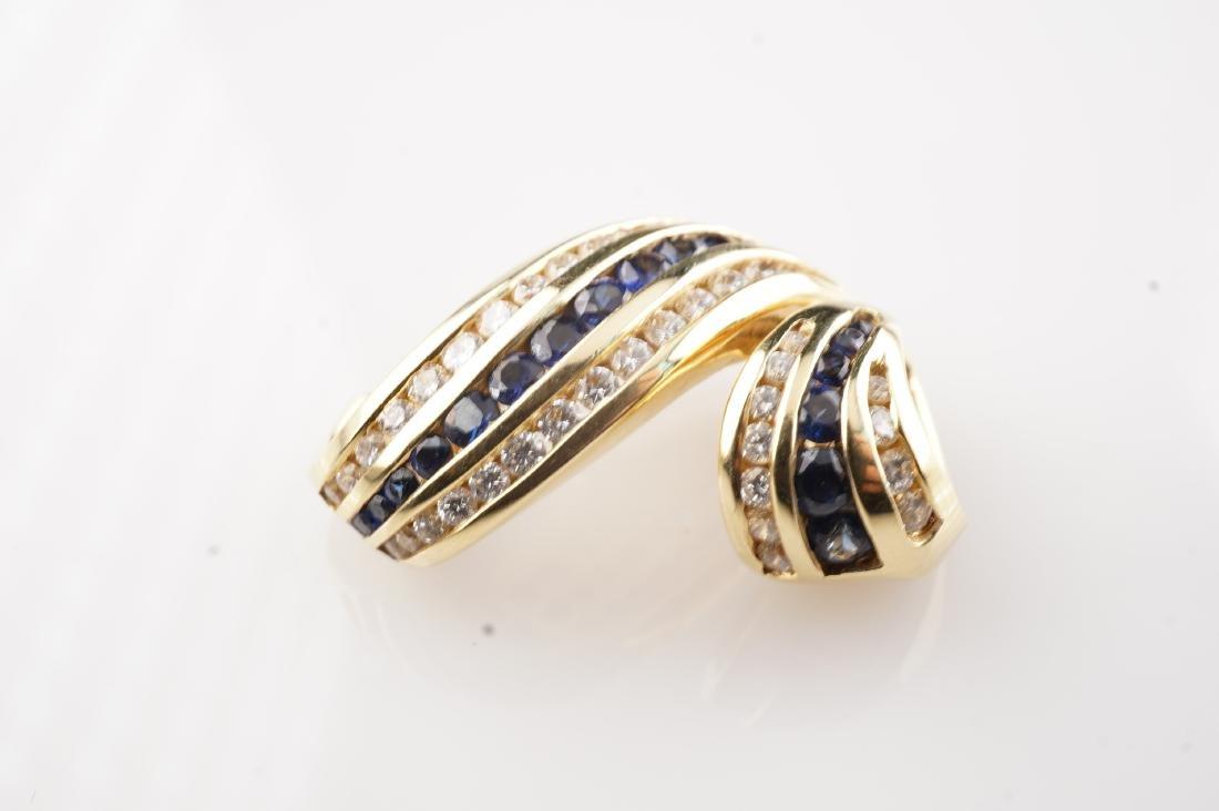 18k YG Charles Krypell Sapphire & Diamond Slide Pendant - 3
