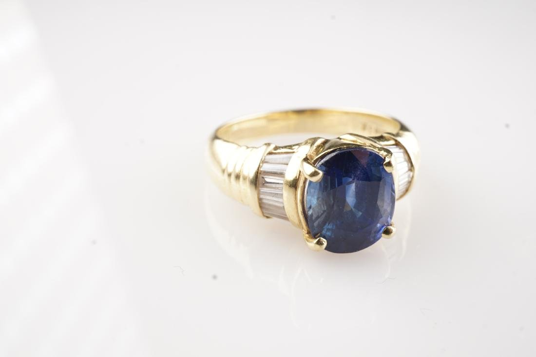 18k YG Le Vian Sapphire & Diamond Ring sz 7 - 2