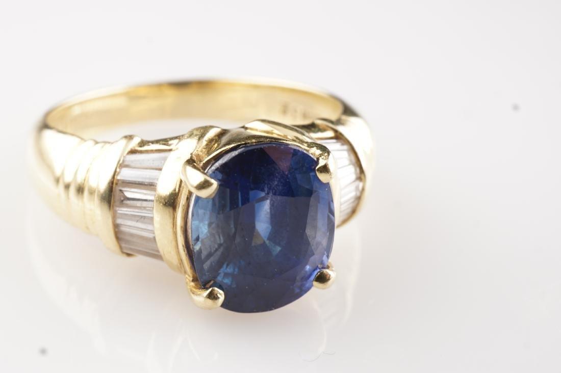 18k YG Le Vian Sapphire & Diamond Ring sz 7 - 3