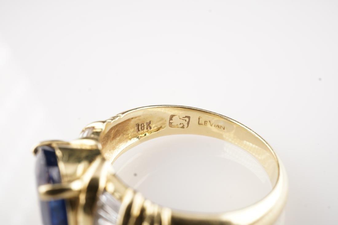18k YG Le Vian Sapphire & Diamond Ring sz 7 - 5