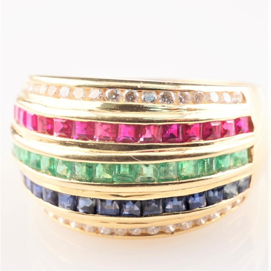 18k YG Ruby Sapphire Emerald & Diamond Ring sz 6.5