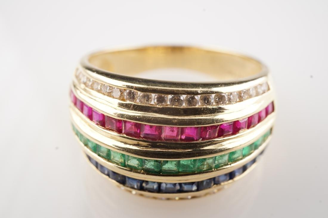 18k YG Ruby Sapphire Emerald & Diamond Ring sz 6.5 - 2