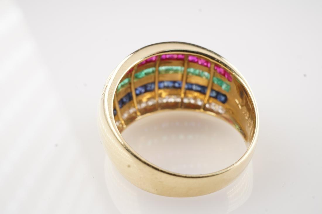 18k YG Ruby Sapphire Emerald & Diamond Ring sz 6.5 - 3