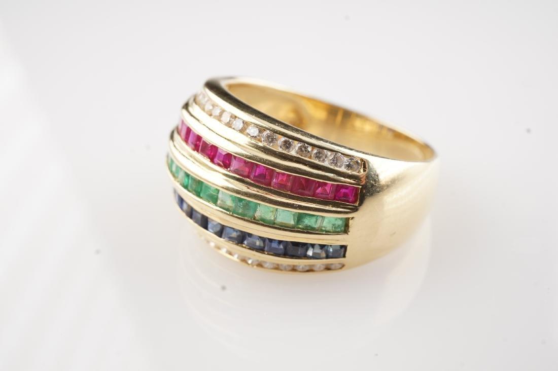 18k YG Ruby Sapphire Emerald & Diamond Ring sz 6.5 - 4