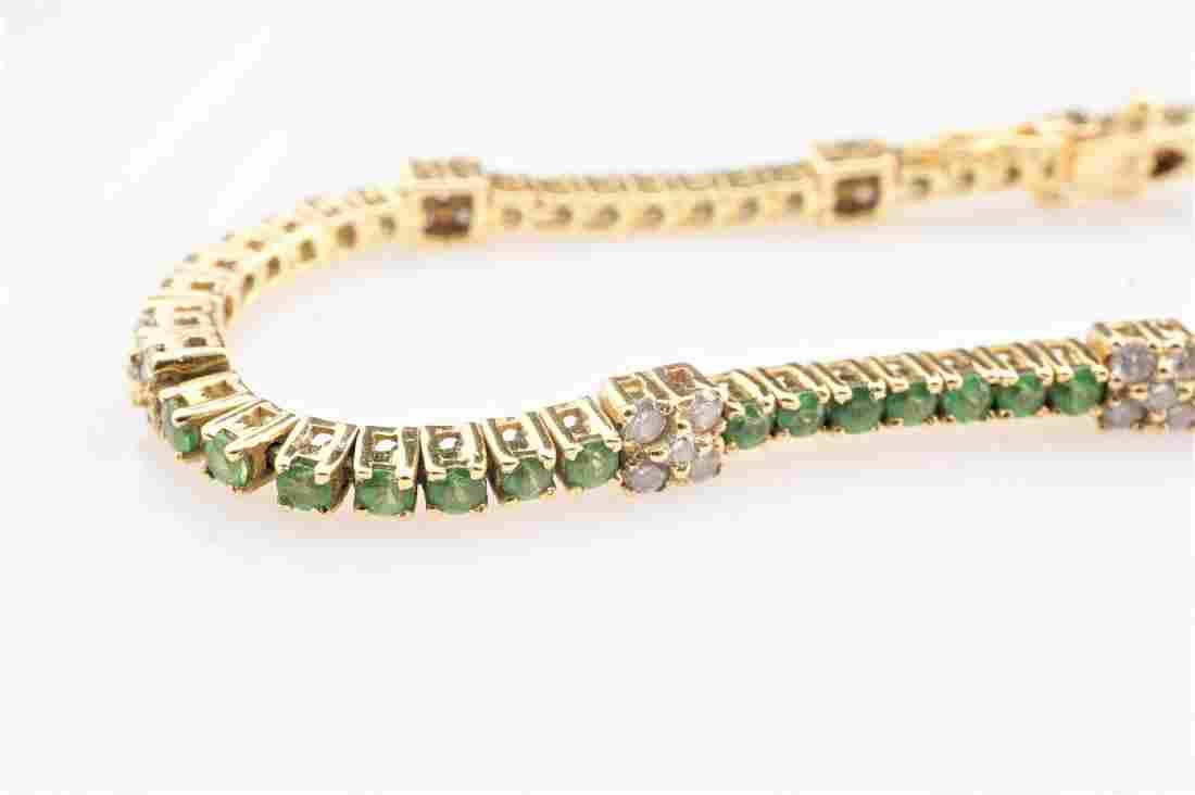 18k YG Emerald & Diamond Tennis Bracelet