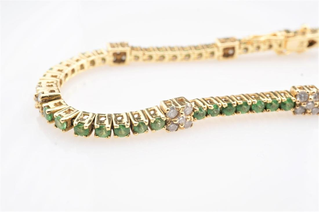 18k YG Emerald & Diamond Tennis Bracelet