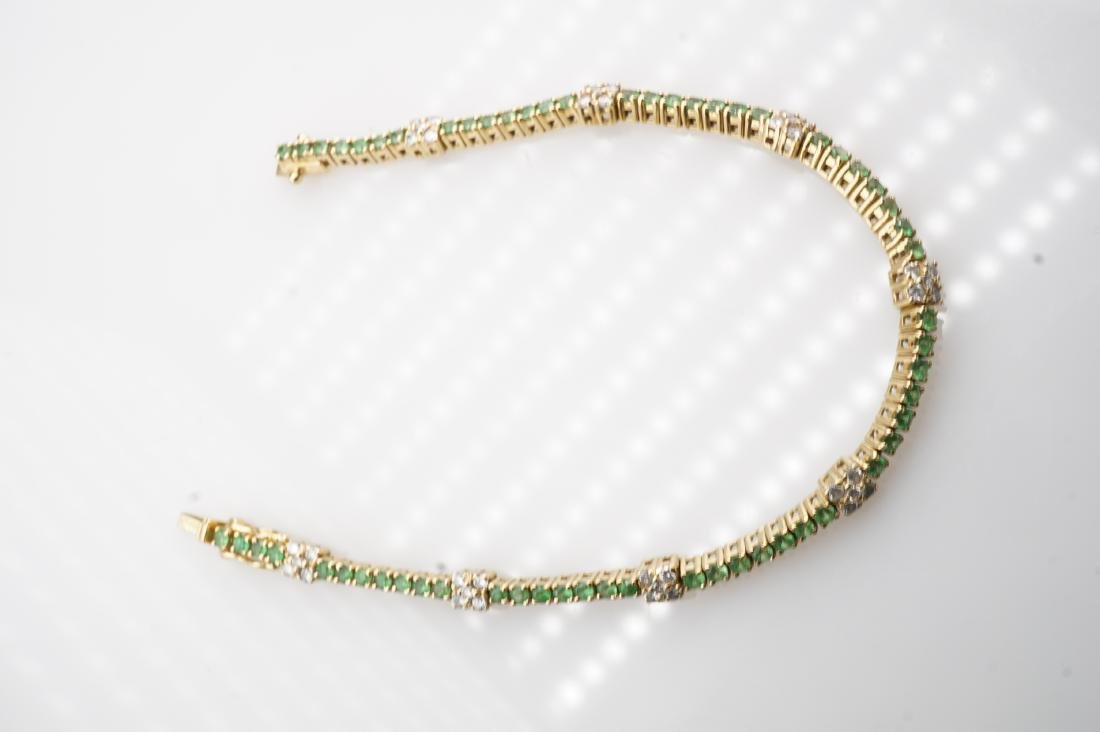 18k YG Emerald & Diamond Tennis Bracelet - 2
