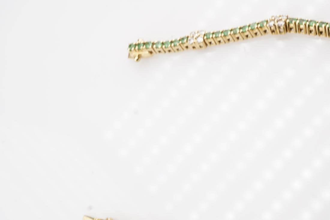 18k YG Emerald & Diamond Tennis Bracelet - 3