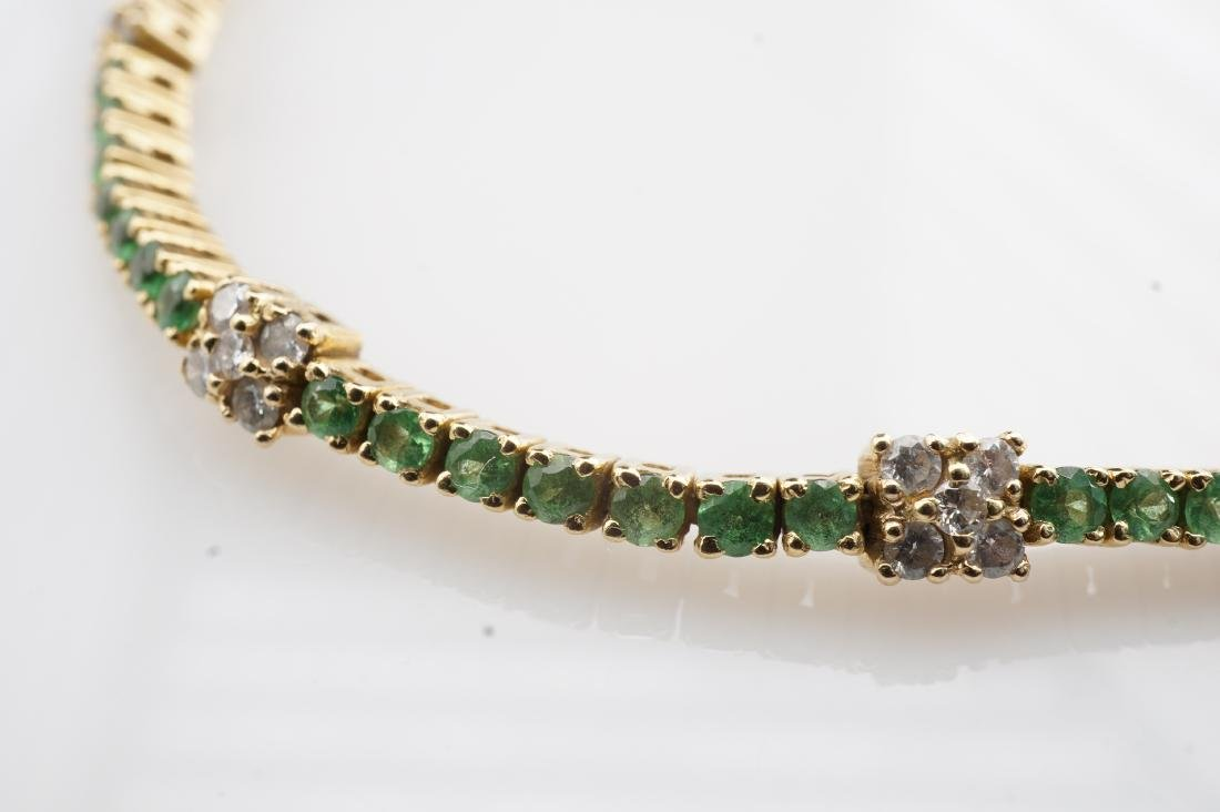 18k YG Emerald & Diamond Tennis Bracelet - 5