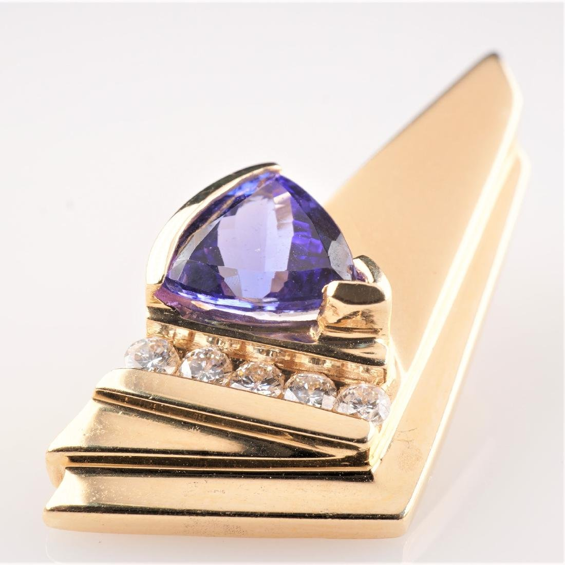 14k YG Contemporary Tanzanite and Diamond Pendant