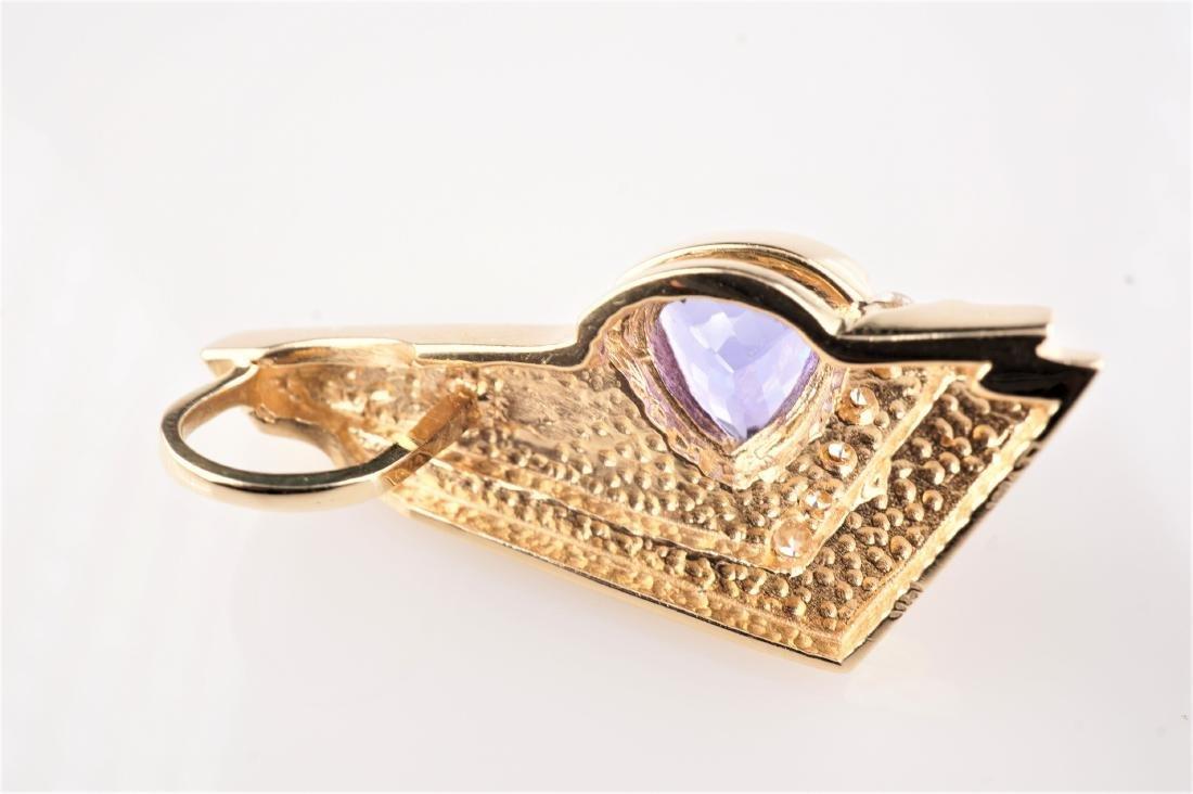 14k YG Contemporary Tanzanite and Diamond Pendant - 4