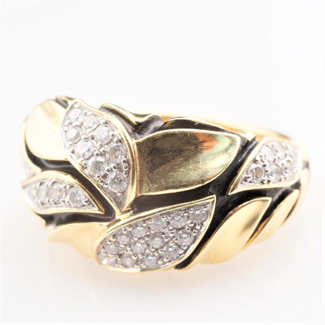 18K YG Enamel and Diamond Leaf Ring sz 7
