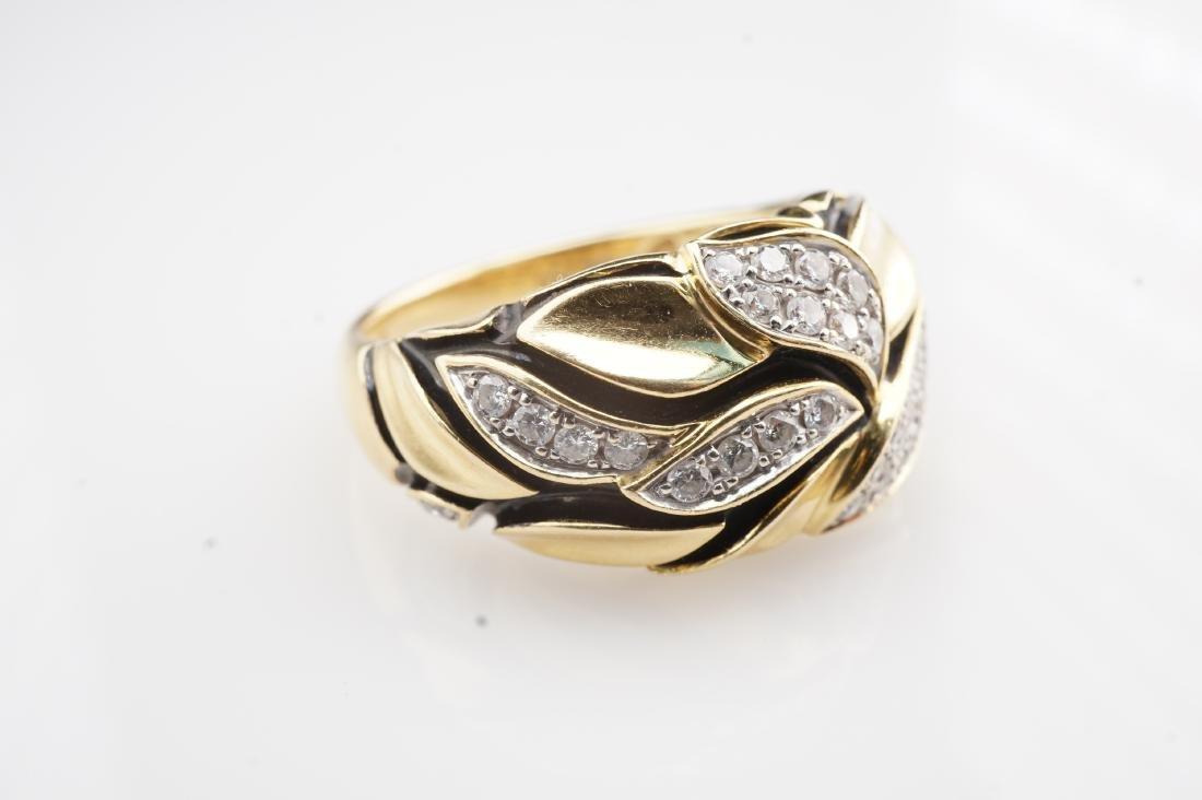 18K YG Enamel and Diamond Leaf Ring sz 7 - 2