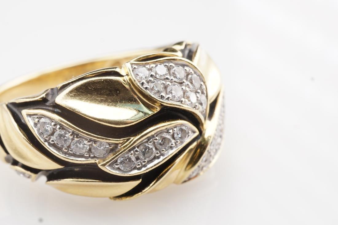 18K YG Enamel and Diamond Leaf Ring sz 7 - 3