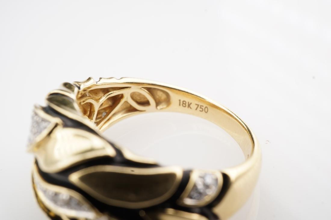 18K YG Enamel and Diamond Leaf Ring sz 7 - 4