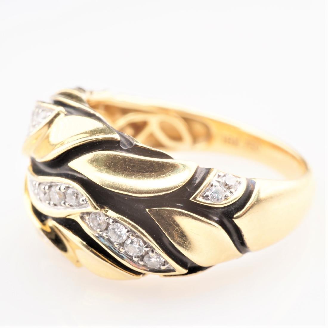 18K YG Enamel and Diamond Leaf Ring sz 7 - 5