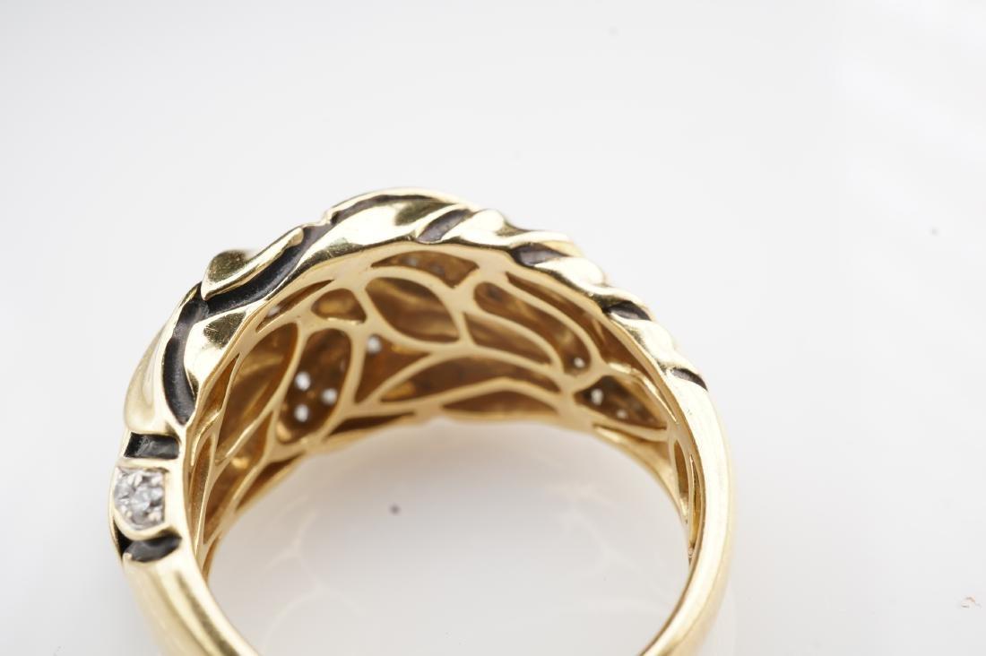 18K YG Enamel and Diamond Leaf Ring sz 7 - 6
