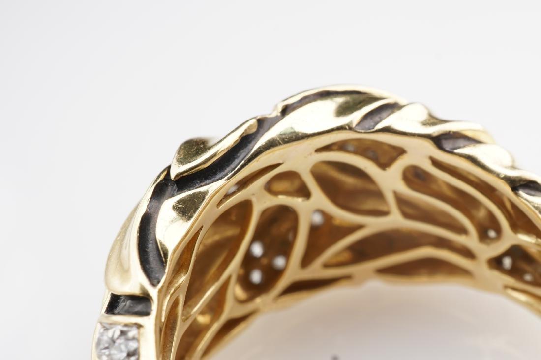 18K YG Enamel and Diamond Leaf Ring sz 7 - 7