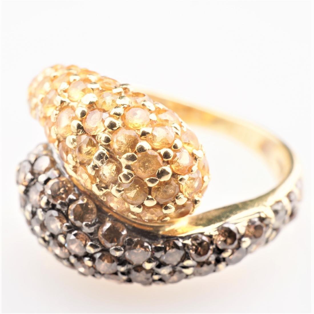 18K YG Cognac Diamond and Yellow Sapphire Ring sz 4
