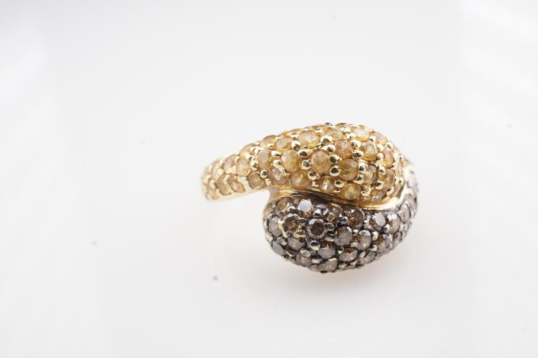 18K YG Cognac Diamond and Yellow Sapphire Ring sz 4 - 2