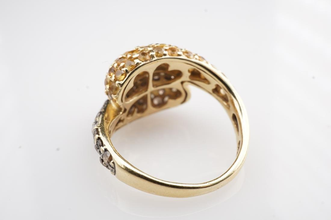 18K YG Cognac Diamond and Yellow Sapphire Ring sz 4 - 3