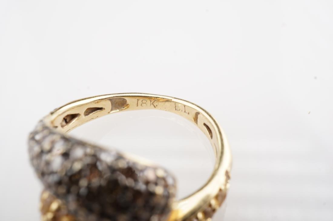 18K YG Cognac Diamond and Yellow Sapphire Ring sz 4 - 4