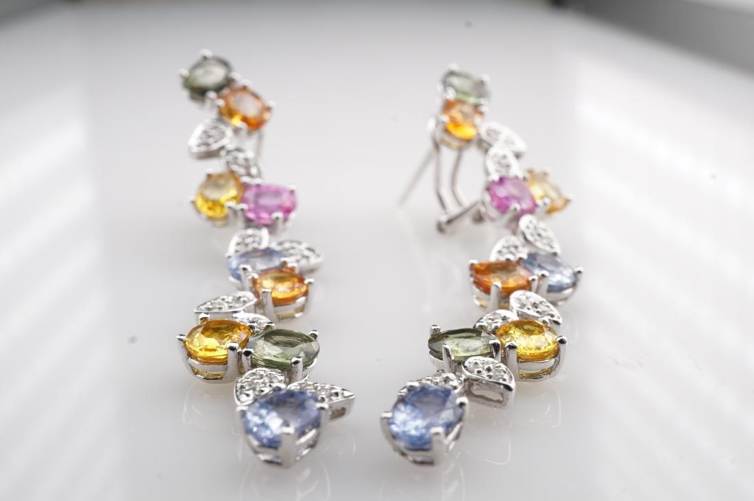 18K WG Le Vian Topaz & Diamond Drop Earrings