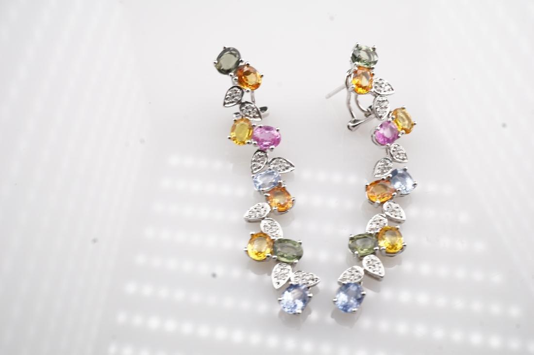 18K WG Le Vian Topaz & Diamond Drop Earrings - 3