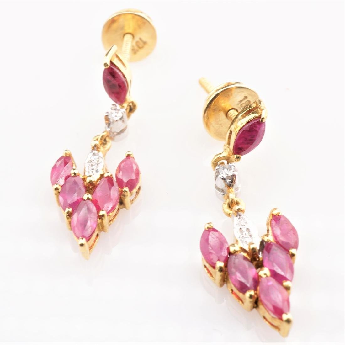 18K YG Ruby and Diamond Drop Earrings