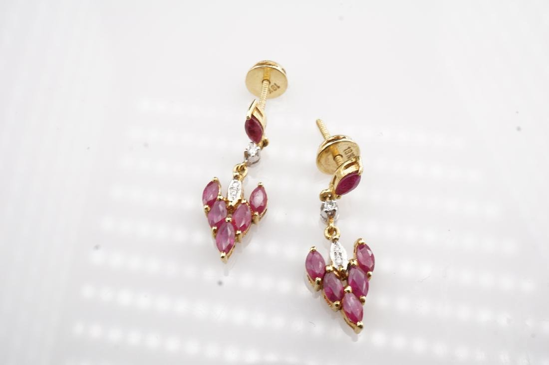 18K YG Ruby and Diamond Drop Earrings - 2