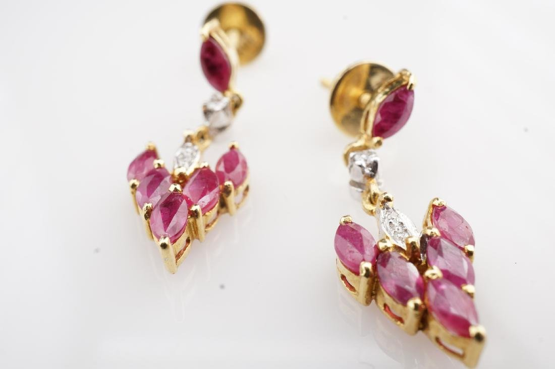 18K YG Ruby and Diamond Drop Earrings - 3