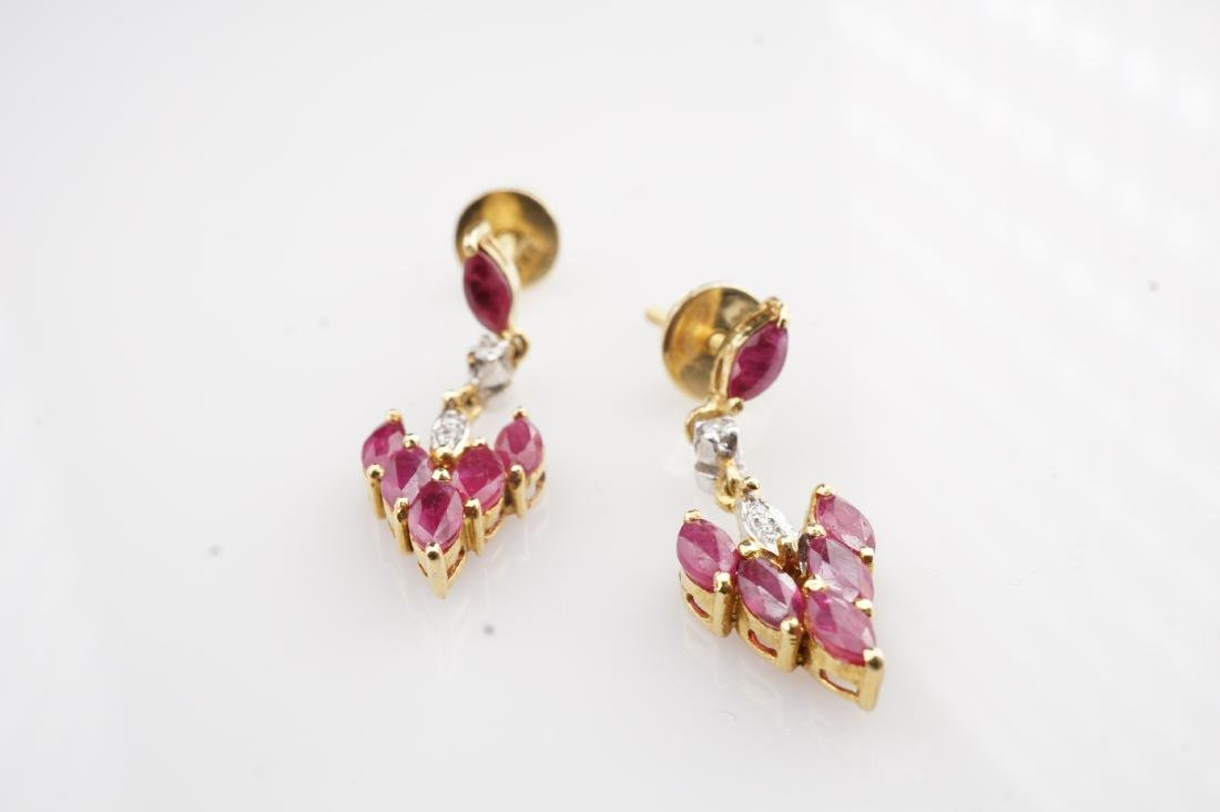 18K YG Ruby and Diamond Drop Earrings - 4