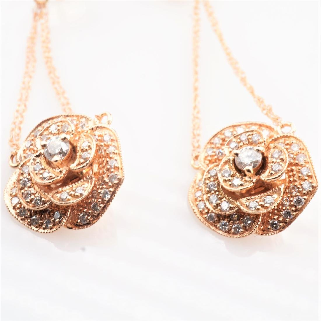 14K RG Le Vian Diamond Drop Earrings