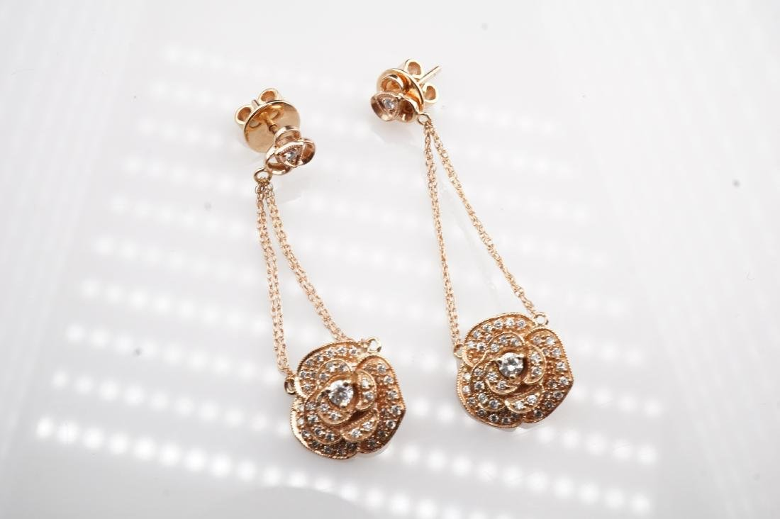 14K RG Le Vian Diamond Drop Earrings - 3
