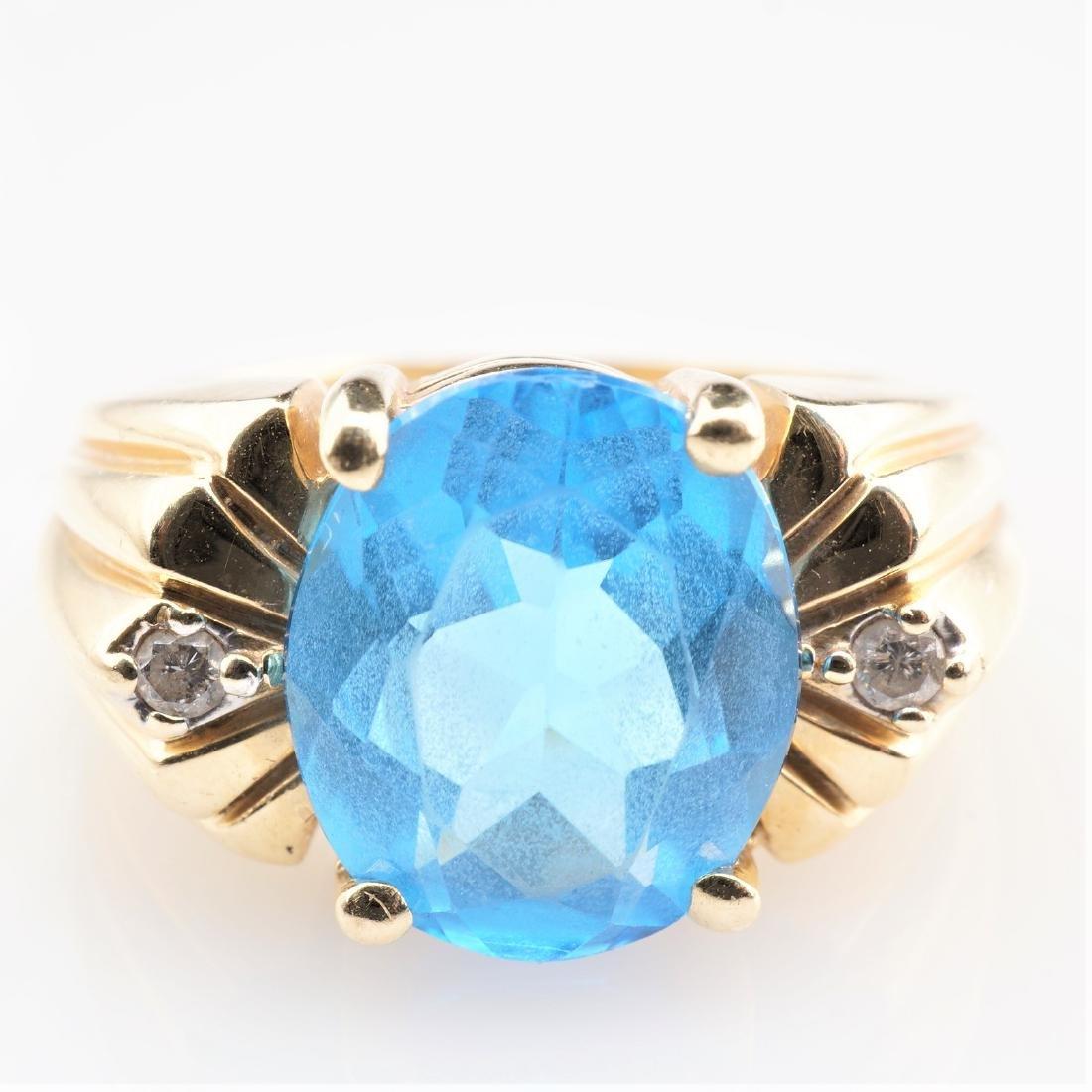 14K YG Topaz and Diamond Ring sz 7