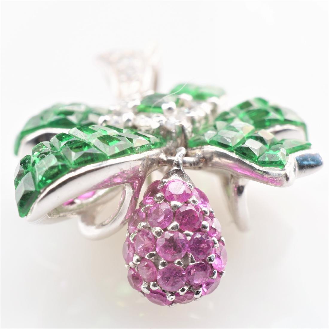 18K WG Emerald, Diamond & Pink Spinel Pendant