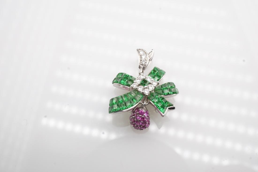 18K WG Emerald, Diamond & Pink Spinel Pendant - 2