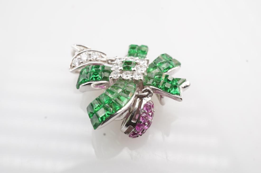 18K WG Emerald, Diamond & Pink Spinel Pendant - 3