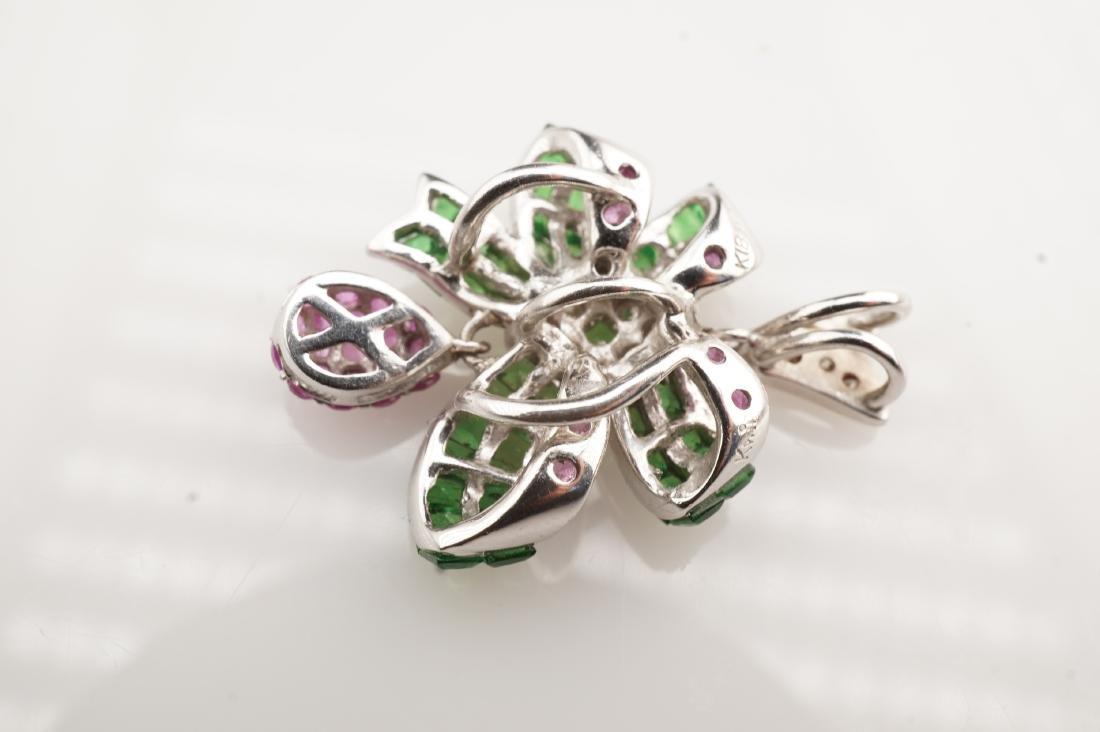 18K WG Emerald, Diamond & Pink Spinel Pendant - 4