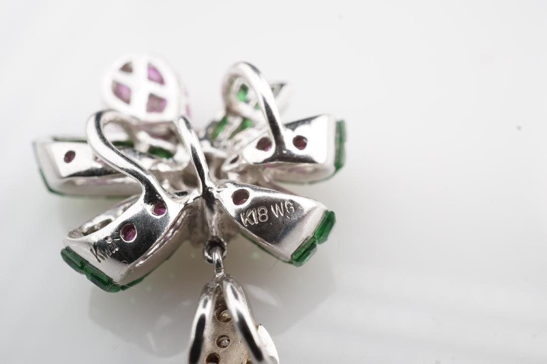 18K WG Emerald, Diamond & Pink Spinel Pendant - 5