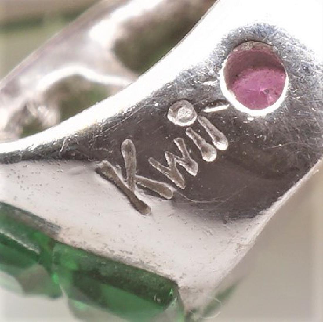 18K WG Emerald, Diamond & Pink Spinel Pendant - 6