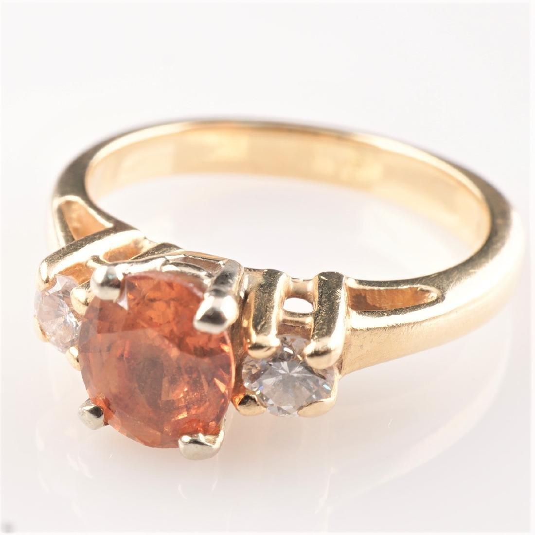 14k YG Yellow Sapphire and Diamond Ring sz 4.75
