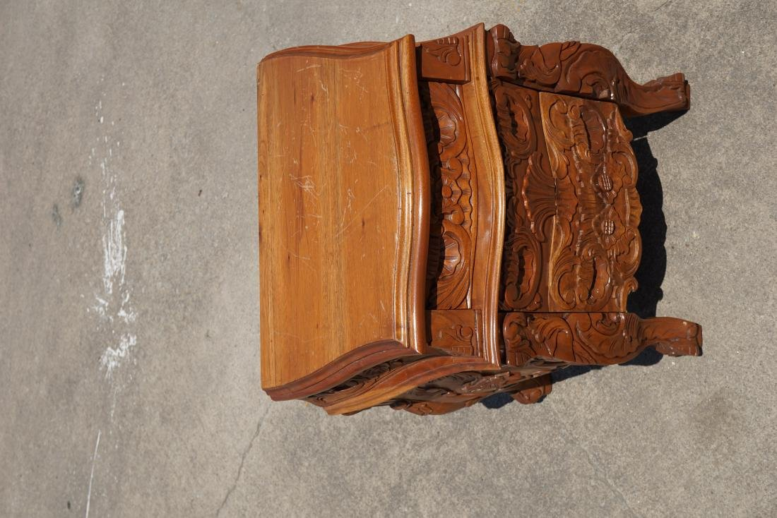 Pair of Carved Wood Side Tables - 2
