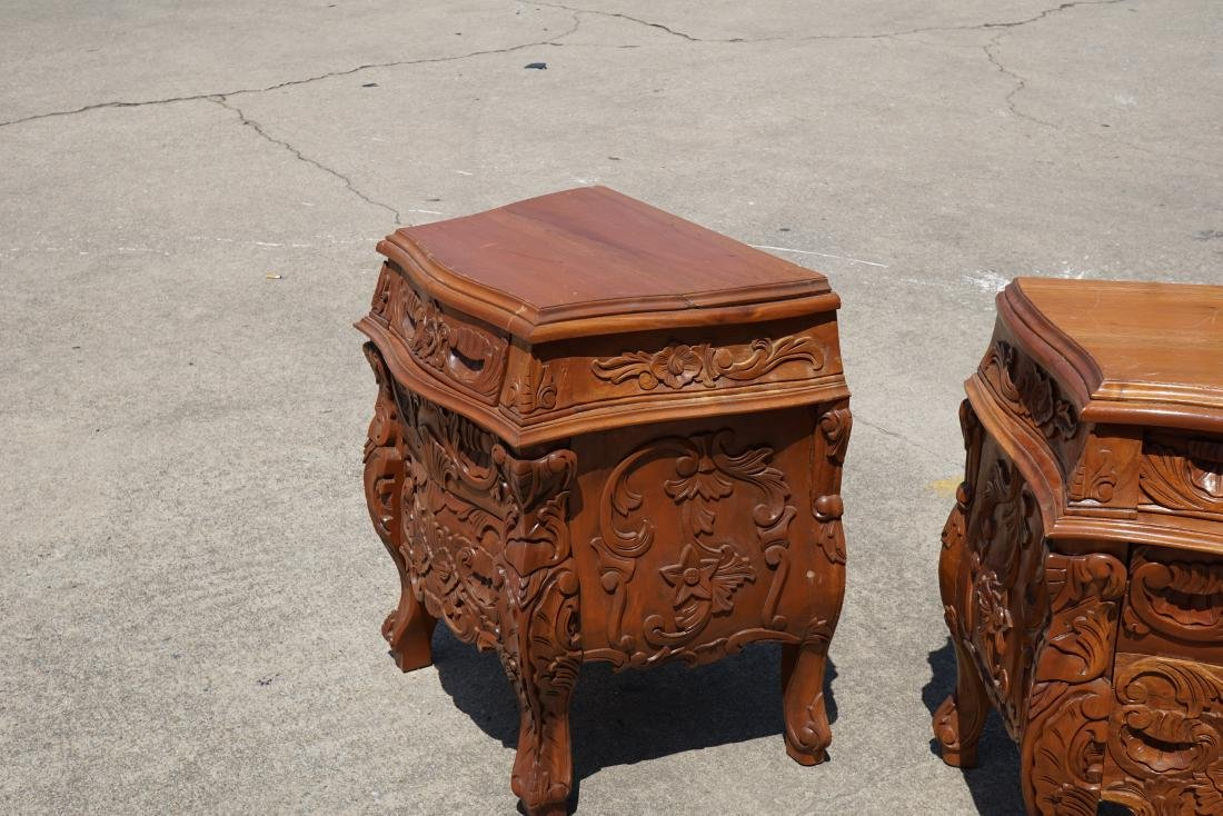 Pair of Carved Wood Side Tables - 3
