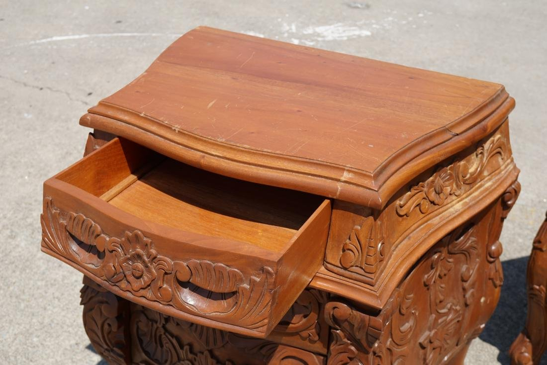 Pair of Carved Wood Side Tables - 4