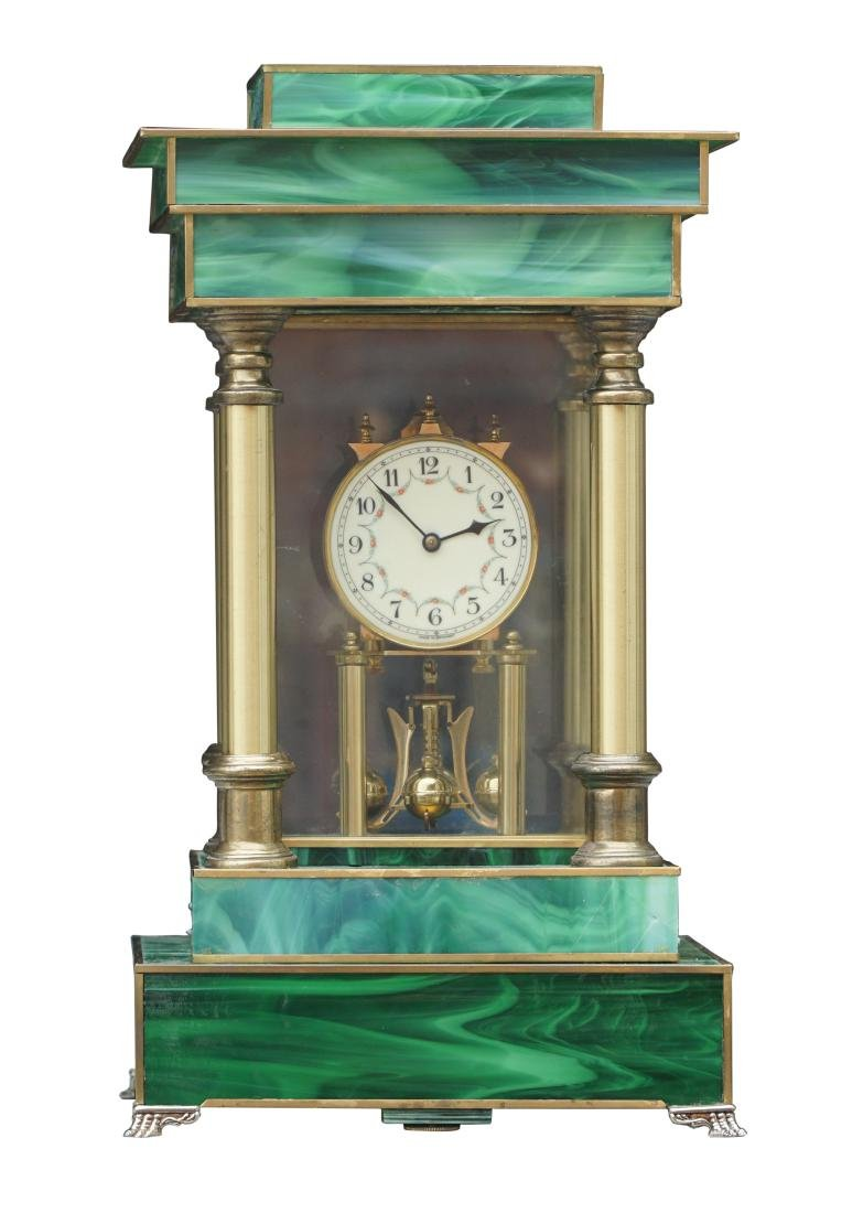 Neoclassical Art Glass Mantel Clock